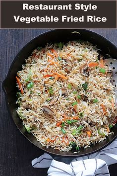 An easy to make restaurant style vegetable fried rice! Delicious it is ! Rice Recipes, Indian Food Recipes, Vegetarian Recipes, Sweets Recipes, Ethnic Recipes, Healthy Recipes, Mixed Vegetables, Veggies, Pan Fried Cauliflower