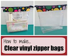 Easy to sew clear vinyl zipper bags. Full video tutorial on how you can make your own clear vinyl zipper bags for travel, cosmetics, toys, sewing supplies.