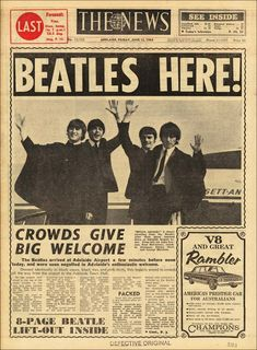 Friday of June The Beatles The Adelaide News. Source Beatles Newspaper Clippings The Beatles KRLA BEAT February 1966 Beatles Newspaper Clippings Newspaper Front Pages, Vintage Newspaper, Newspaper Article, Die Beatles, The Beatles Live, Front Page News, Newspaper Headlines, Drame, Headline News