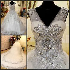 Ericdress Luxury Shiny Diamonds V-Neck Wedding Dress with Cathedral Train