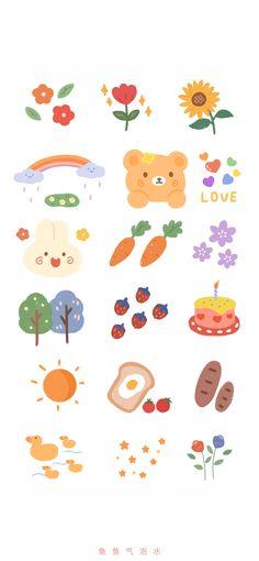 Kawaii Stickers, Cute Stickers, Kawaii Drawings, Cute Drawings, Journal Stickers, Planner Stickers, Korean Stickers, Cute Doodles, Aesthetic Stickers