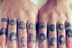 Disney princess finger tattoos