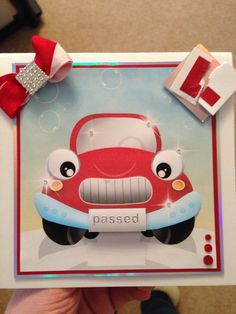 Passed driving test card , cute vroom vroom Passed Driving Test, New Drivers, Test Card, Congratulations Card, Make A Gift, Vroom Vroom, Handmade Cards, Birthday Cards, Mixed Media