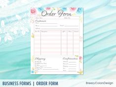 Custom Order Form Business Organizer Branded Staionery Order