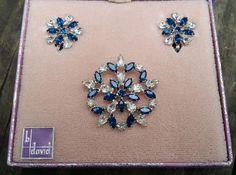 Vintage B. David Blue & Clear Rhinestone Brooch & Earrings Set in Box #BDavid