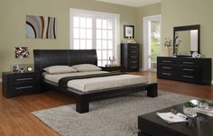 Top 25 Contemporary Style Bedroom Design Ideas : Pale Green Wall Contemporary Bedroom Decorating with Black Painted Furniture and Flat Coffe...