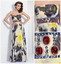 A-line Strapless Floor-length Chiffon Evening Dress