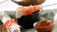 Fondue de salmón con sésamo