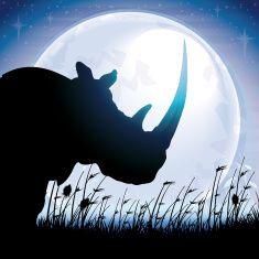 African Rhino silhouette safari against blue moon vector art illustration