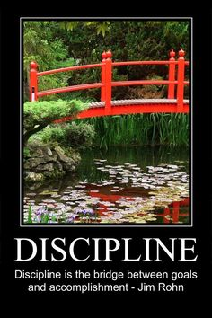 La disciplina es el puente entre las metas y los logros.  Jim Rohn
