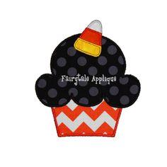 Digital Machine Embroidery Design - Halloween Cupcake Applique by FairytaleApplique on Etsy https://www.etsy.com/listing/164474235/digital-machine-embroidery-design