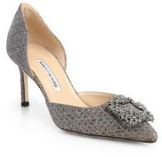 Manolo Blahnik Hangisido Jeweled Glitter Lame D'Orsay Pumps #commissionlink