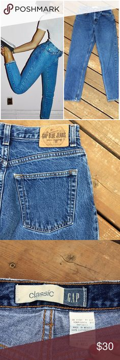 """Vintage High-Waisted GAP Classic Jeans Style: GAP classic jean; high-waisted, tapered leg Size marked: 6 Reg Size best fit: 2/26 Apx. Measurements when laying flat: 13"""" across waist 10"""" front rise 29"""" inseam (unrolled) 19"""" across bottom of back pockets They look great cuffed! Condition: Excellent Check out my closet for other vintage denim in various sizes. Price firm so bundle & save!! GAP Jeans Boyfriend"""