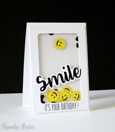 smiley face birthday shaker card - Karten Emoji - Crafts world Handmade Birthday Cards, Happy Birthday Cards, Greeting Cards Handmade, Birthday Greeting Card, Birthday Cards For Kids, Birthday Card Drawing, Tarjetas Diy, Bday Cards, Shaker Cards