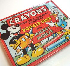 Vintage Mickey Mouse Donald Duck Tin Crayon Box
