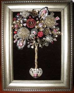 """Vintage Jewelry Crafts One-of-a-Kind Framed Vintage Jewelry Art Topiary Tree Handcrafted """"Pewter-tones Black Pink Red Lovebirds Roses Flowers"""" - Costume Jewelry Crafts, Vintage Jewelry Crafts, Recycled Jewelry, Vintage Costume Jewelry, Mom Jewelry, Jewelry Tree, Jewelry Making, Button Art, Button Crafts"""