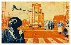 WW2 Gas Mask Art collage City Landscape  Poster by EzyTheEasyCat