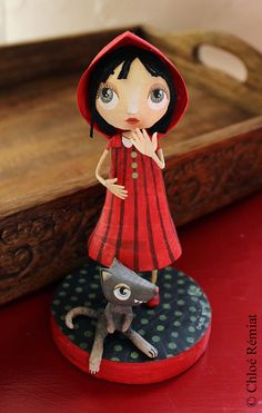 Little Red Riding Hood and her Gray Wolf OOAK doll by chloeremiat