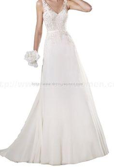 Vintage V-Neck Sleeveless Lace and Chiffon Church Wedding Dress / wedding dresses / Bridal Gown