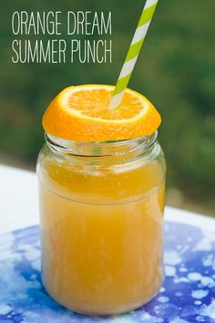 Orange Dream Summer Punch Recipe...Makes 30 (4 ounce) servings..1/2 gal­lon orange sherbert 1 (6 ounce) can frozen orange juice concentrate 1 (2 liter) bot­tle gin­ger ale