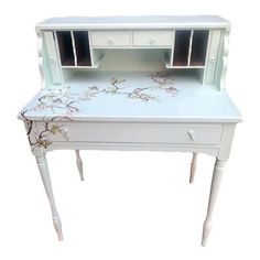 Up-cycled secretary desk; given a new coat of paint and some birds, butterflies and floral details. This desk is structurally sounds and has had the back board replaced and shows wear to the paint and wood edge (see photographs).. The desk is painted with chalk paint called egg-blue. The painted surface is in good shape and shows some intentional wear. We could see this desk in a rustic farmhouse or cottage setting; it's an eye catcher. Please review the photographs to see the condition… Distressed Furniture, Pallet Furniture, Painted Furniture, Furniture Ideas, Desk Makeover, Furniture Makeover, Rustic Table, Rustic Farmhouse, Chalk Paint Table