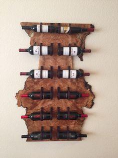 Wine Rack, Birdseye Maple, Leather--SOLD