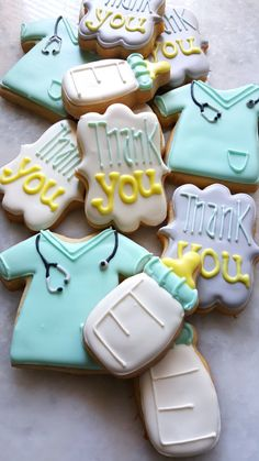 Super Cookies Royal Icing Thank You Ideas Nurse Cookies, Baby Cookies, Iced Cookies, Royal Icing Cookies, Delivery Nurse Gifts, Thank You Cookies, Nurse Appreciation Gifts, Super Cookies, Medical Gifts