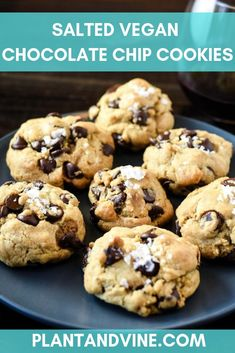 Vegan Chocolate Chip Cookies Salted vegan chocolate chip cookie recipe with wine pairing suggestions. Pairing savory sea salt with chocolate makes these cookies next level. Check out Plant & Vine for more vegan recipes and wine pairing ideas! Healthy Vegan Desserts, Vegan Dessert Recipes, Vegan Recipes Easy, Delicious Desserts, Snack Recipes, Vegan Vegetarian, Vegan Food, Food Food, Cookie Recipes