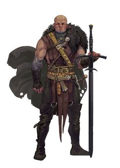 m Barbarian Mercenary Light Armour Cloak Greatsword male Game Character Design, Fantasy Character Design, Character Creation, Character Concept, Character Art, Fantasy Male, Fantasy Armor, Fantasy Fighter, Fantasy Illustration