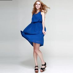 NEONICE Chiffon Pleated Long Dress Blue KFS03L 1 Blue Dresses, Summer Dresses, Casual Dresses For Women, Clothing Ideas, Chiffon, Lady, Clothes, Style, Fashion