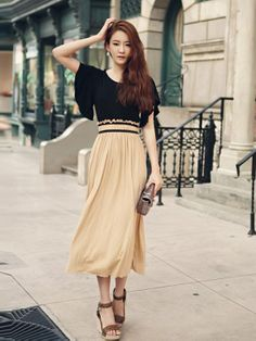 Elegant Short Sleeve Elastic Drape Waist Long Dress