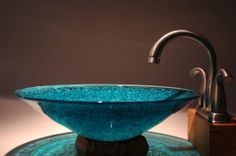 Teal Blown Glass Vessel Sink by FireDancersGlass on Etsy Beautiful Home Designs, Beautiful Homes, Glass Fire Pit, Stucco Homes, Small Vanity, House On Stilts, Glass Vessel Sinks, Blue Pottery, Blue Bowl