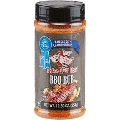The BBQ Spot Three Little Pigs 12.5 oz. Championship Rub features a balanced mix of sweet and spicy ingredients.