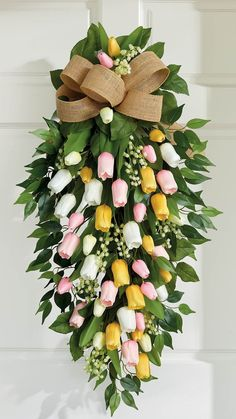 Spring Hats, Spring Mix, Tulip Wreath, Floral Wreath, Wreaths For Front Door, Door Wreaths, Door Swag, Wreath Hanger, Spring Door
