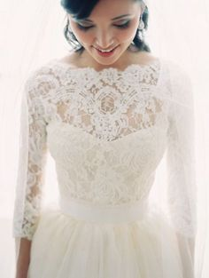 Long sleeves lace bridal gown #wedding #dress #lace #long #sleeves