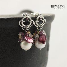 Cherry & Vanilla Earrings - Pearls, Sapphire,  Quartz, Rhodolite & Sterling Silver
