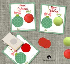 Holiday Christmas Cards / Gift Tags for EOS lip balm gifts | Teacher Gifts | Hanging Ornaments with Bows | Cards | No. ORN1-eos by ThePrintablePapery on Etsy