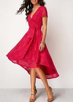 High Low Belted V Neck Lace Dress | liligal.com - USD $36.32