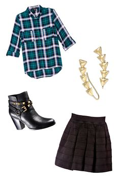 The Look: Casual-Cool  Just because it's fall doesn't mean you should start covering up those legs! To keep the mini skirt autumn appropriate, toss on a long-sleeved flannel top. A pair of heeled ankle booties dress it all up. All items available at macys.com.   - Seventeen.com