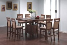 9pcs Counter Height Dining Table with Lazy Susan  8 Stools Set -- Click image to review more details.Note:It is affiliate link to Amazon.