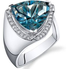 Oravo 7.00 Carat London Blue Topaz Rhodium-Plated Sterling Silver Engagement Ring, Women's, Size: 6