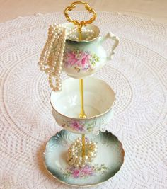 High Tea for Alice 3 Tier Floral Jewelry Stand Holder Display or Mini Tea Party Centerpiece, a Tiered Tower of Vintage Porcelain / China Plate, Bowl and Cream Pitcher in Pink and Teal Blue