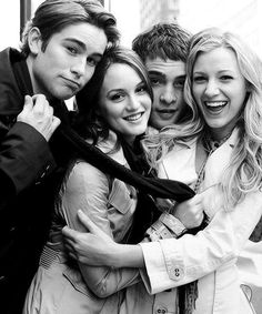 Chase Crawford, Leighton Meester, Ed Westwick & Blake Lively. Just finished Gossip Girl