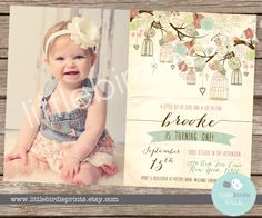 RUSTIC Birthday Invitation Bird Cage Birdcage Birthday Party --- Shabby Chic First Birthday - Vintage style with rustic bird cages in tree by littlebirdieprints on Etsy https://www.etsy.com/listing/205884951/rustic-birthday-invitation-bird-cage