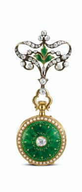 """""""To The King"""", A Fine Inscription for Any Item, This Lovely From Le Roy and Fils, 57 New Bond Street London, Just Happens to Bear It,  Yellow Gold, Enamel, Seed Pearl and Diamond Fob/Brooch Watch, ca.1905."""