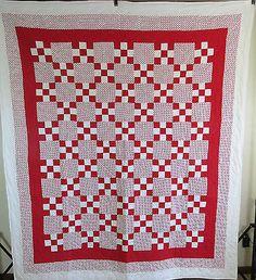 Vintage Antique Handmade Quilt Patchwork 9 Block Quilt Red&White