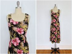 Vintage 1980s Hawaiian Print Dress / Black and Pink Floral Print / from ThisBlueBird