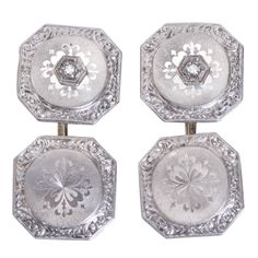 1stdibs | Antique French Platinum-on-Gold Cufflinks; France, c. early 20th century