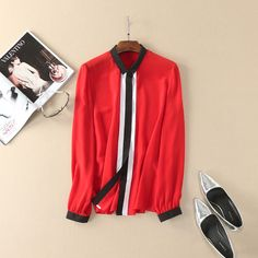 2017 women silk blouse long sleeve shirt fashion color block tops black white red new spring summer