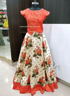 Raw Silk with Digital Print and Embroidery and Sequins Work Butis Lehenga and Allover Zari Work Designer Patterned Crop Top.  Size- Standard  Can be customized to required size....